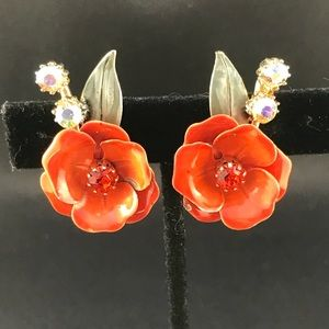 Vintage Coro orange flower clip earrings